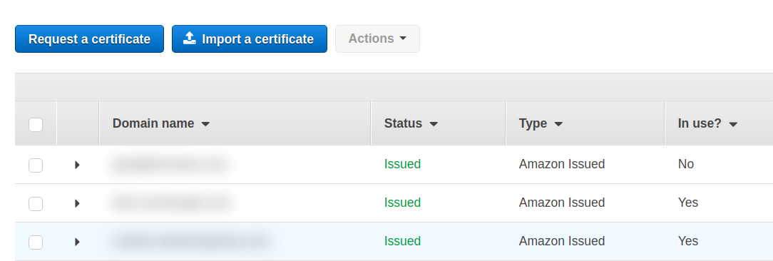 Certificados no Amazon Certificate Manager